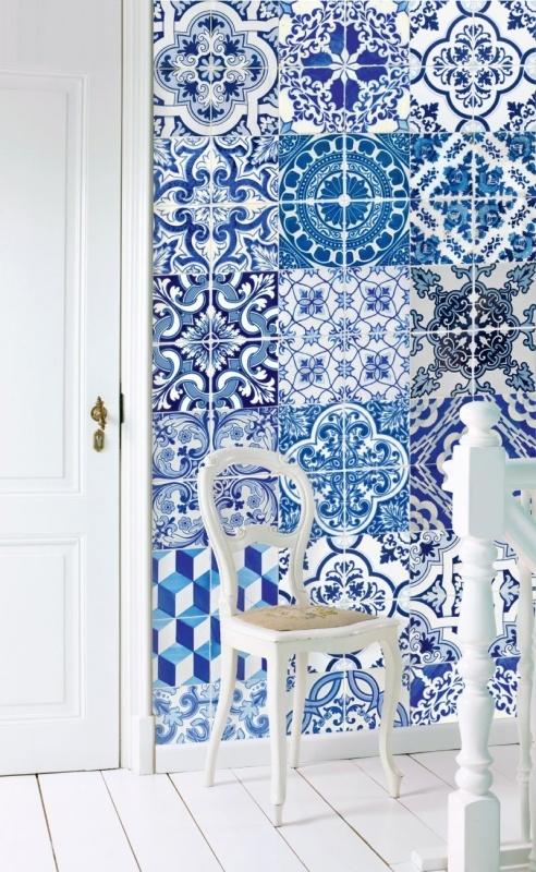 Esta home ginger wallpaper xxl delft blue 158002 eurobehang for Wallpaper esta home